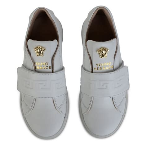 boys white sneakers versace boys white leather sneakers with velcro