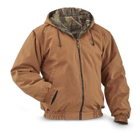 Jaket Canvas Brown Hoodie reversible canvas insulated jacket 656509 camo jackets at sportsman s guide