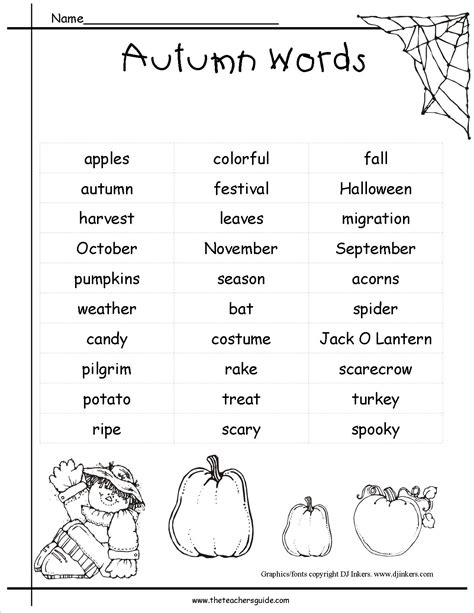 english words themes fall pictionary words list for kids google search fall
