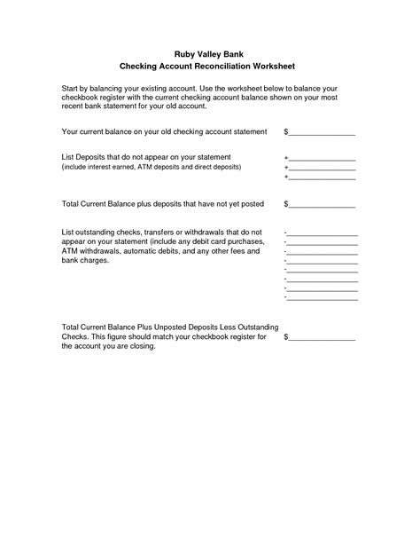 Checking Account Reconciliation Worksheet 17 Best Images Of Checkbook Reconciliation Worksheet