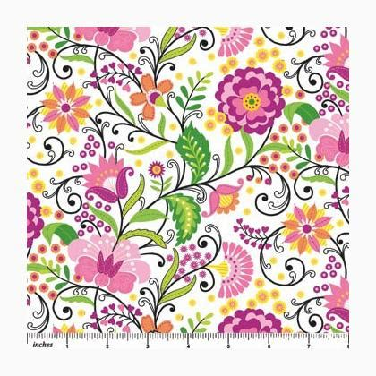 Floral Whimsy Ecru Small Allover Flowers From Northcott | floral whimsy ecru small allover flowers from northcott
