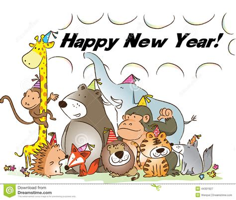 happy new year animals happy new year stock illustration image 44301927
