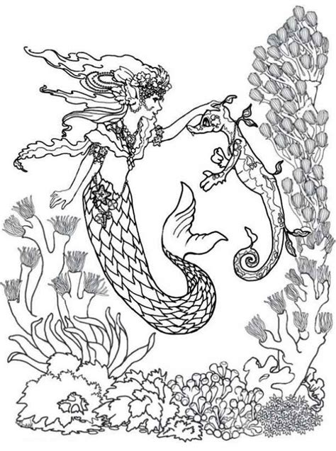 hard coloring pages of mermaids majestic mermaid and seahorse difficult adult coloring