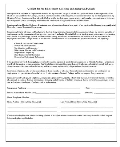 Free Pre Employment Background Check Background Check Consent Form Sle 8 Exles In Word Pdf