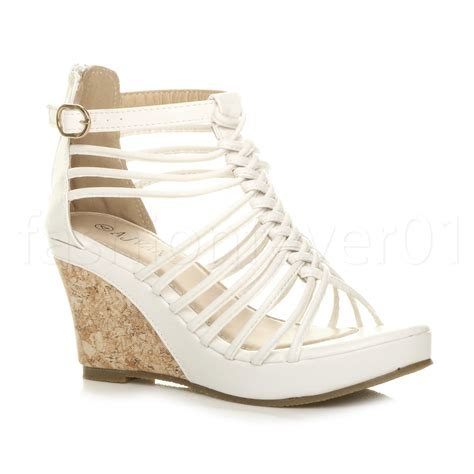 wedge heel gladiator sandals womens strappy gladiator platform summer high heel
