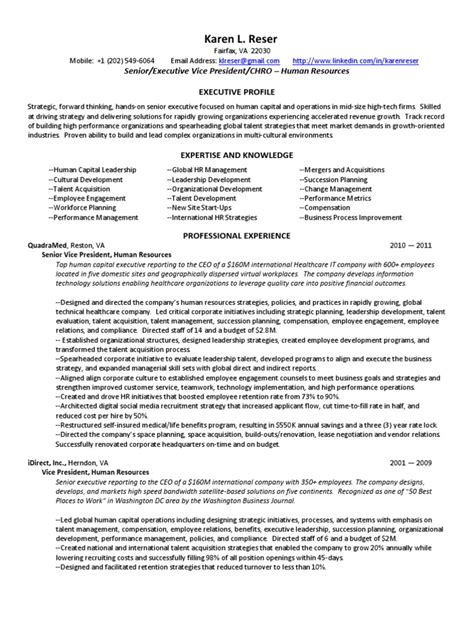 Sle Resume For Vice President Of Human Resources Vice President Human Resources Chro In Washington Dc Va Resume Reser Strategic