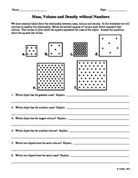 Volume And Density Worksheet by Mass Volume And Density Without Numbers By Science Garage