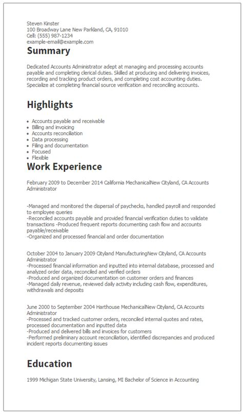 Accounts Administrator Sle Resume by Accounts Payable Assistant Manager Resume 28 Images 11 Best Best Accountant Resume Templates