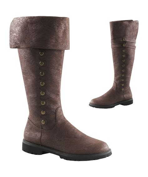 mens knee high brown cuff boots