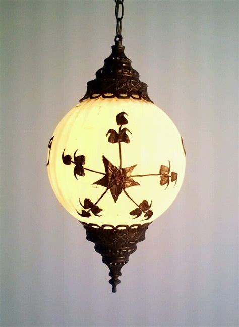 Swag Ceiling Light Vintage Retro Milkglass Swag L Light Hanging Fixture Ceiling Brass 60s 99 95 Picclick