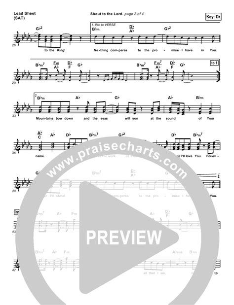lincoln brewster the lord shout to the lord lead sheet piano vocal lincoln