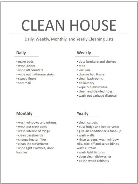 37 free house cleaning list templates in word excel pdf