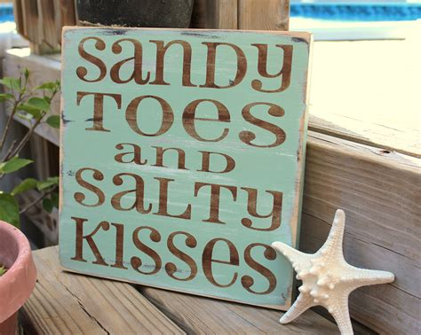 beach signs home decor beach sign sandy toes salty kisses coastal beach house