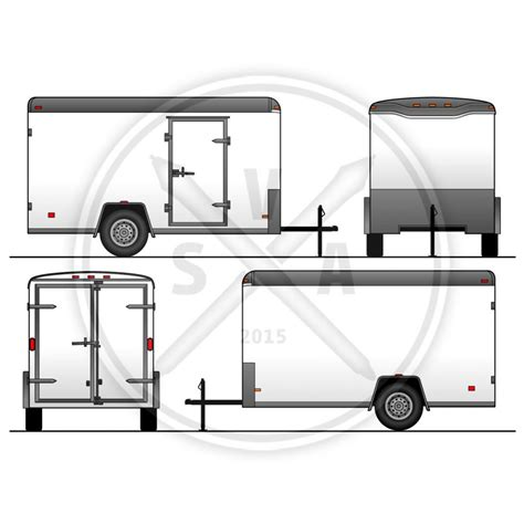 Trailer Templates haulmark 10ft utility trailer template stock vector
