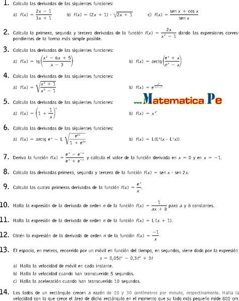imagenes de matematicas resueltos c 193 lculo de derivadas ejercicios resueltos matematicas 2