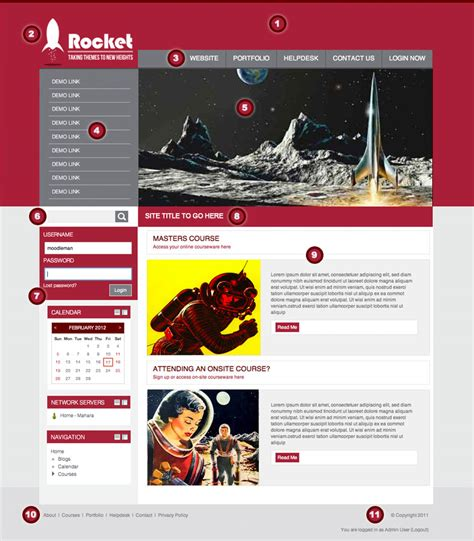 themes for moodle 1 9 rocket theme moodledocs