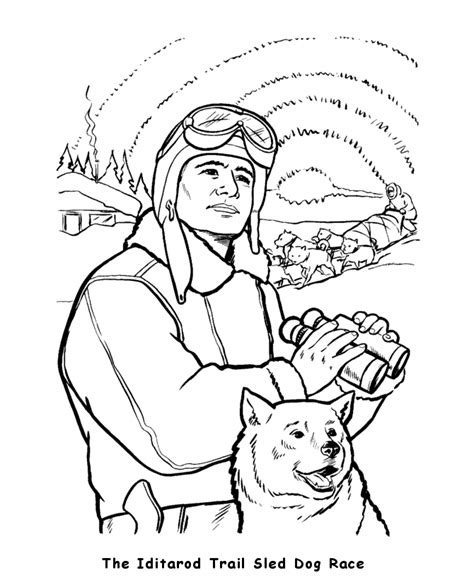 iditarod coloring pages usa printables iditarod trail dog sled race state of