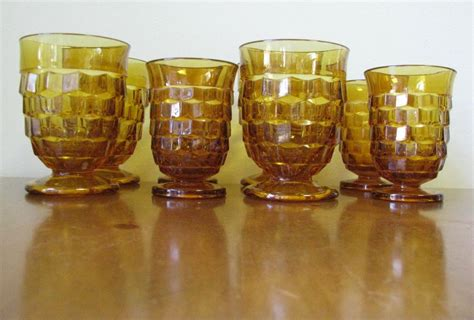 antique barware vintage amber cubist glassware by indiana glass co set
