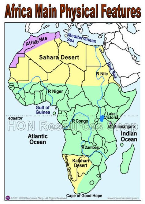 africa map of physical features africa physical features map printable by
