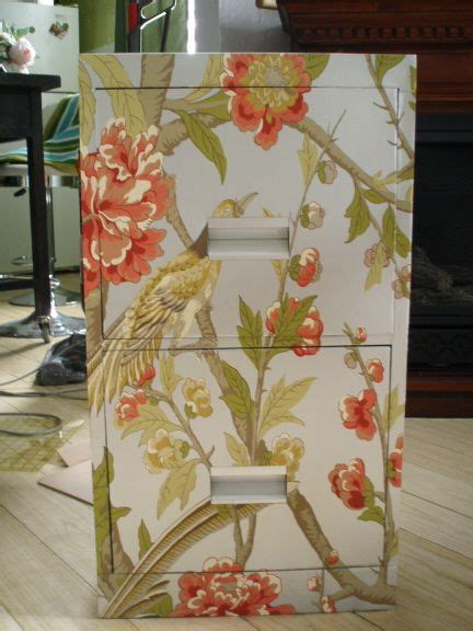 Spray Decoupage - how to cover a file cabinet using spray paint wallpaper