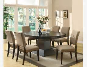 Casual Dining Room Table Sets 7 Pc Casual Coffee Wood Oval Dining Room Set Leaf Table Chairs Contemporary Dining Sets