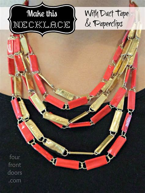 how to make duct jewelry four front doors duct and paperclip necklace tutorial