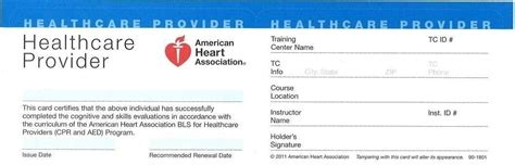 American Heart Association Cpr Card Template Reactorread Org Bls Healthcare Provider Card Template