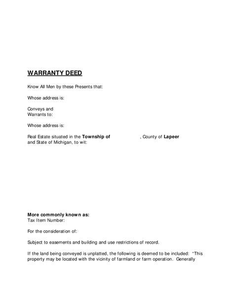 Blank Warranty Deed Michigan Free Download Michigan Warranty Deed Template