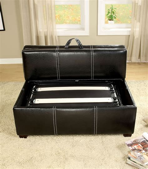 pull out bed ottoman furniture of america ottoman in black with pull out bed