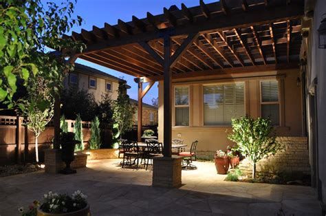 landscaping in denver 187 blog archive 187 tuscan patio and arbor with stone pillars and lighting in