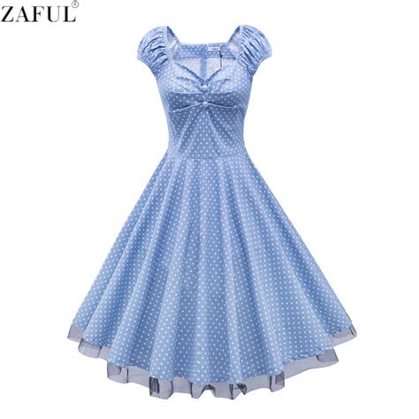 Summer Retro Dress 42553 zaful summer retro vintage dress big swing robe rockabilly 50s dress plus size