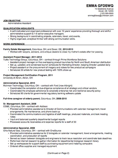 resume sle for administrative assistant position resume exle for an administrative assistant susan