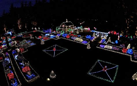 aerial view of the holiday lights at shore acres coos