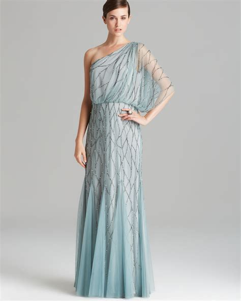 beaded blouson gown papell gown one shoulder blouson with beaded mesh