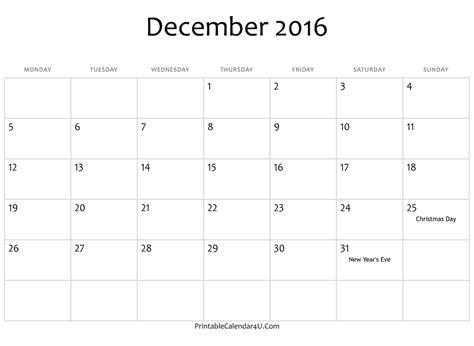 December 2016 Calendar Template