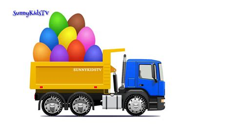 childrens truck trucks for dump truck eggs learn fruits