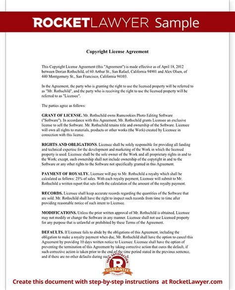 copyright contract template free copyright license agreement license copyright template