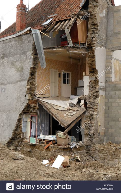 french house insurance house collapsed at nolay in burgundy france stock photo royalty free image 16779540