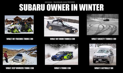 subaru winter meme subaru owners in winter