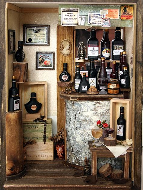 Handmade Shoo Bar - antique small wine bar handmade dollhouse miniatures