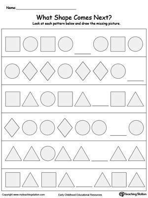 shape pattern worksheets for 1st grade preschool patterns printable worksheets
