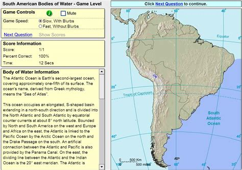america interactive map quiz interactive map of south america oceans and lakes of south