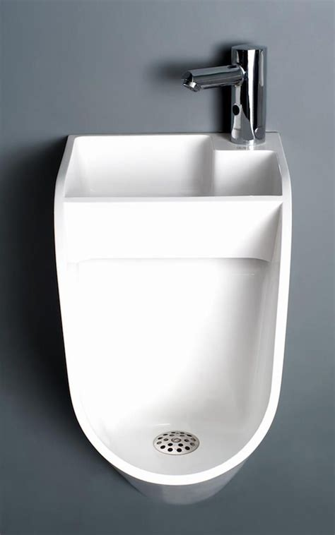 toilet with hand washing can this urinal hybrid get men to wash their hands