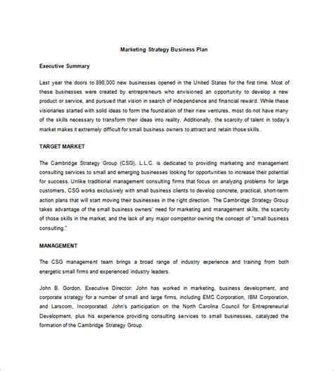 Strategic Business Plan Template 7 Free Word Excel Pdf Format Download Free Premium Business Marketing Plan Template Word