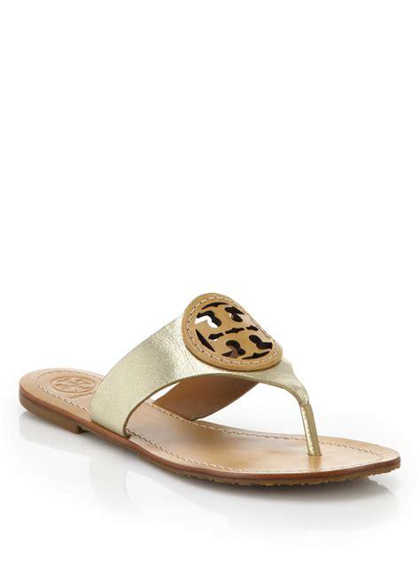 burch sandals burch louisa metallic leather sandals in