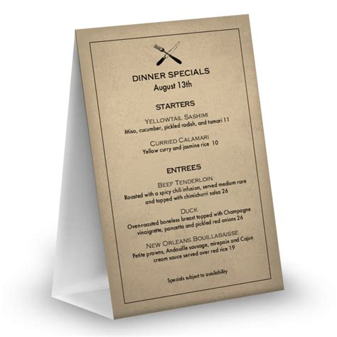 slow food table tent menu table tent 4x6 table tent