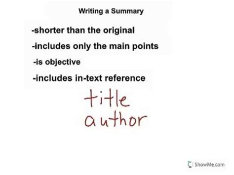 what to include when writing a summary