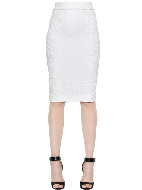givenchy floral jacquard pencil skirt in white lyst