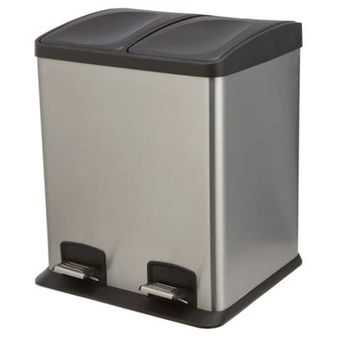 2 section bin buy tesco 24l stainless steel rectangular two section