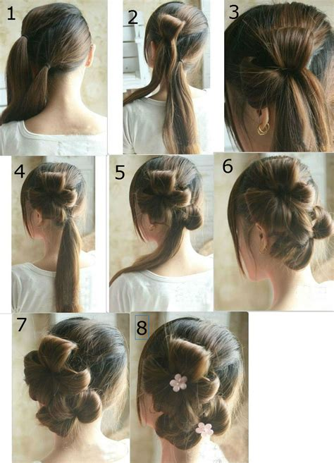 step by step hair style flower tie updo homecoming best hairstyles step by step